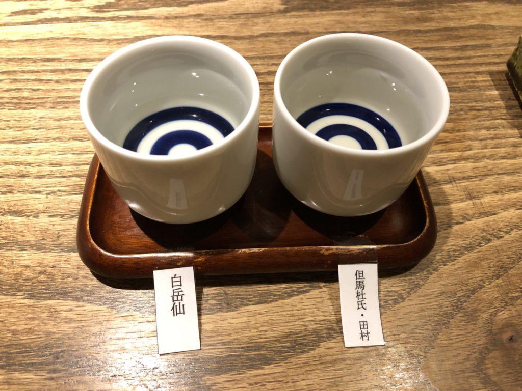 アメコヤの日本酒飲み比べ
