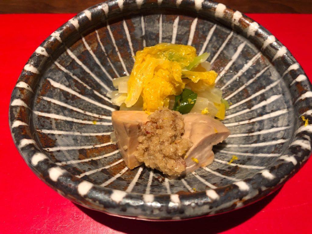 あん肝のうま煮&オレンジ白菜と九条ネギのおひたし