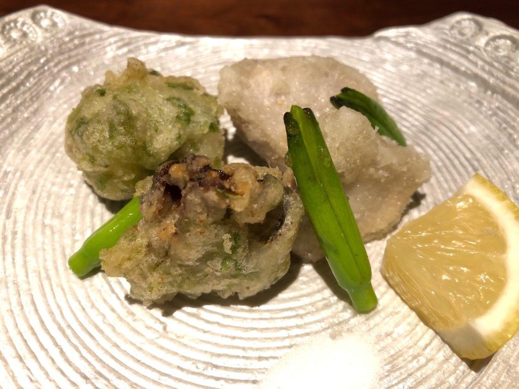 牡蠣の磯部揚げ&海老芋・金針菜