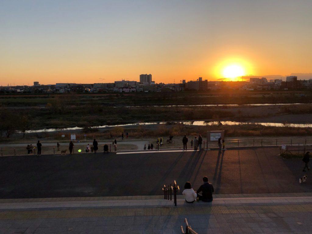 二子玉川公園から見る夕日が最高