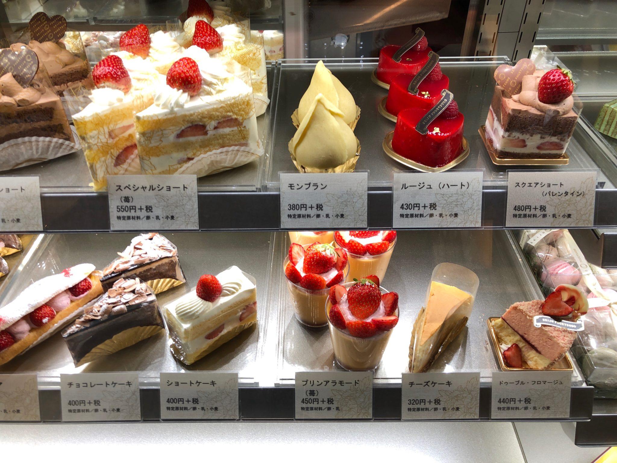 成城風月堂本店のケーキ