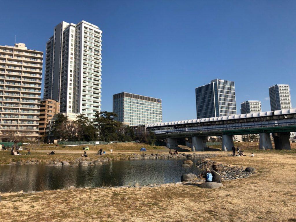 世田谷区兵庫島公園から見る二子玉川駅