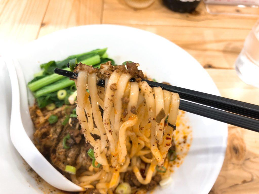 汁なし担々麺 ここからの醤油のモチモチ麺