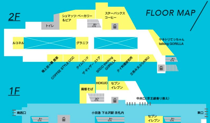 シモキタエキウエのフロアマップ