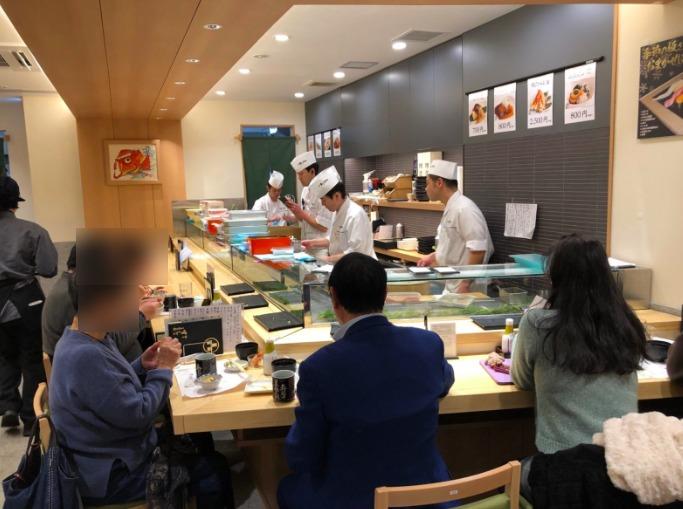 梅ヶ丘の美登利寿司の1階カウンター席店内様子