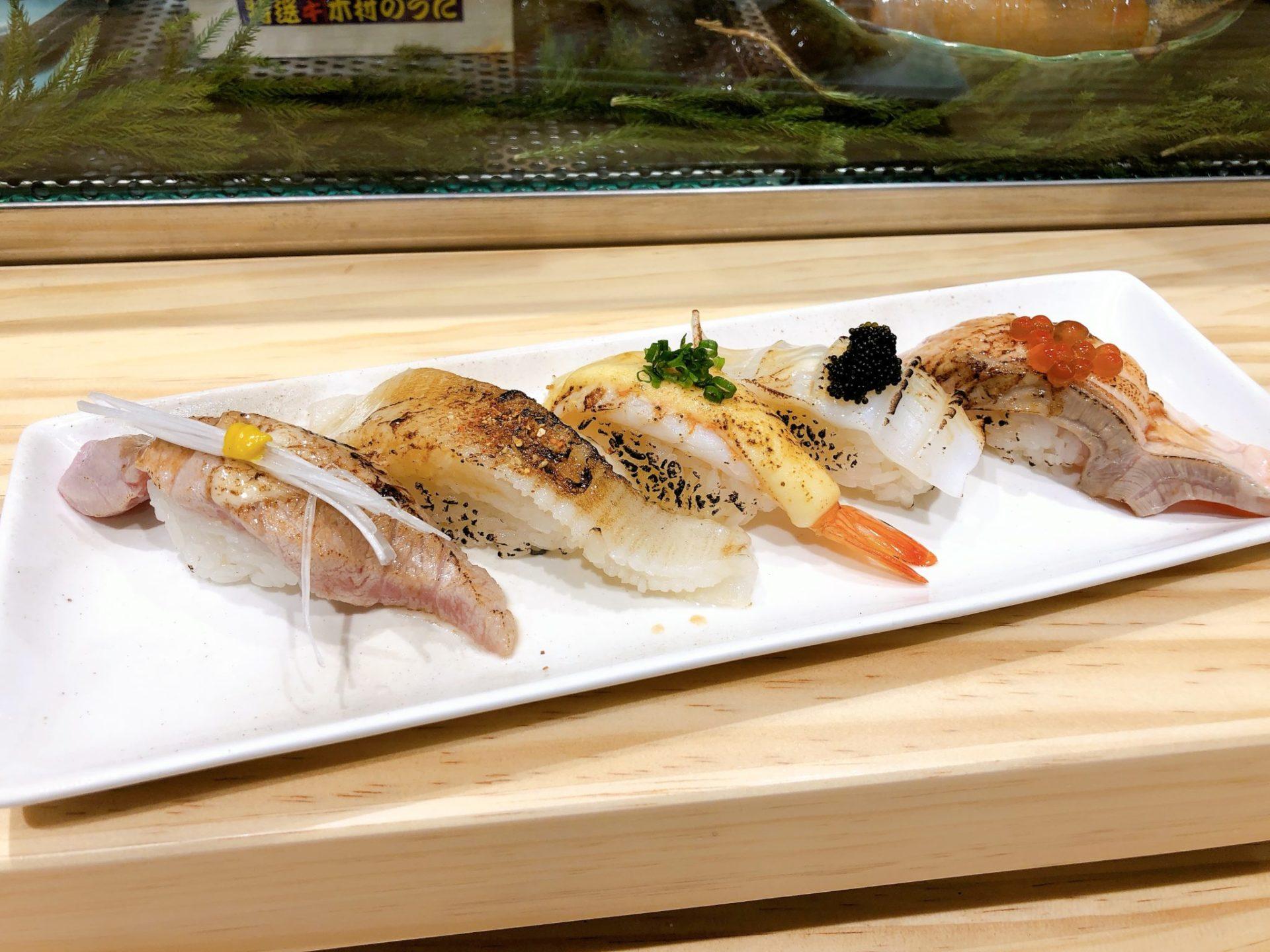 梅ヶ丘の美登利寿司の炙り物づくし