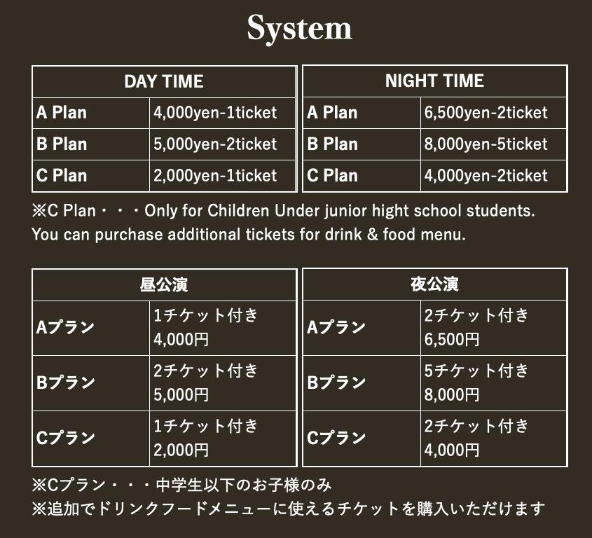 サムライロックレストランの料金システム