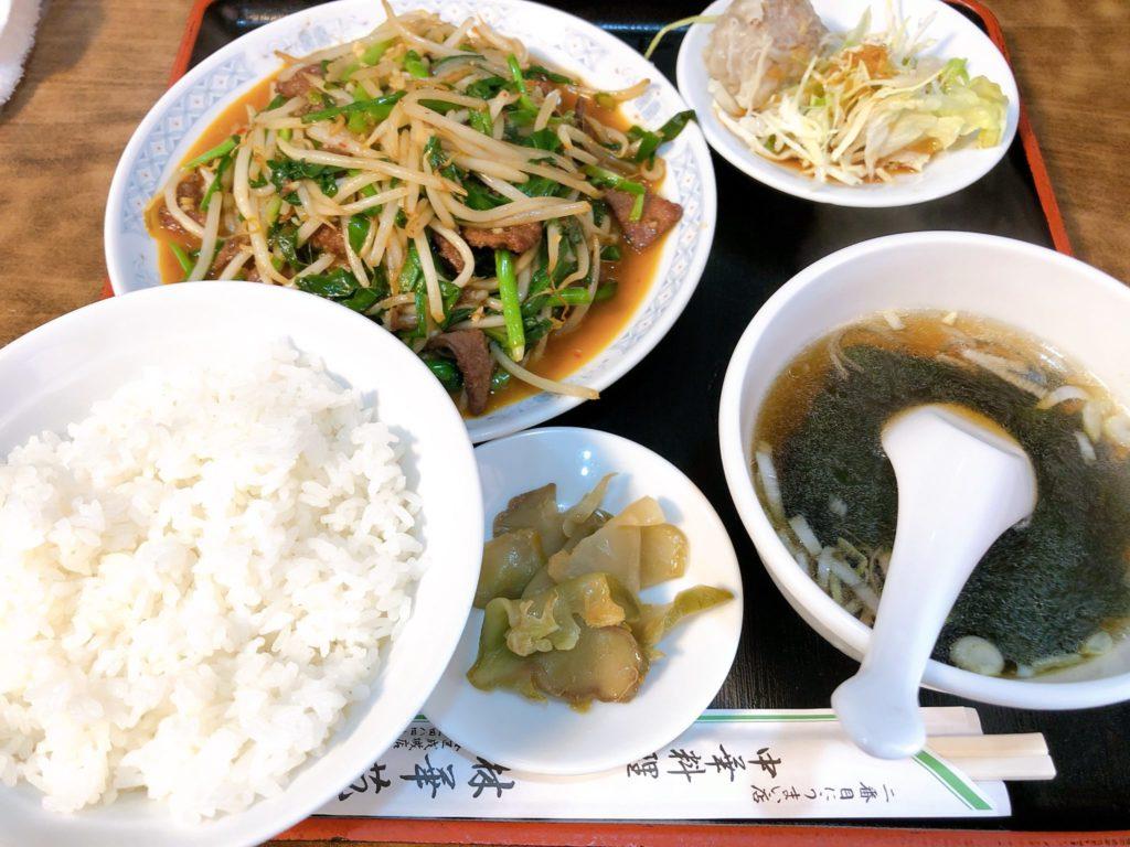 林華苑のレバニラ定食