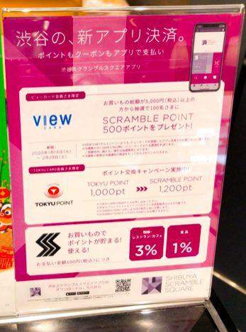 渋谷スクランブルスクエアアプリで買い物するとポイントがたまる