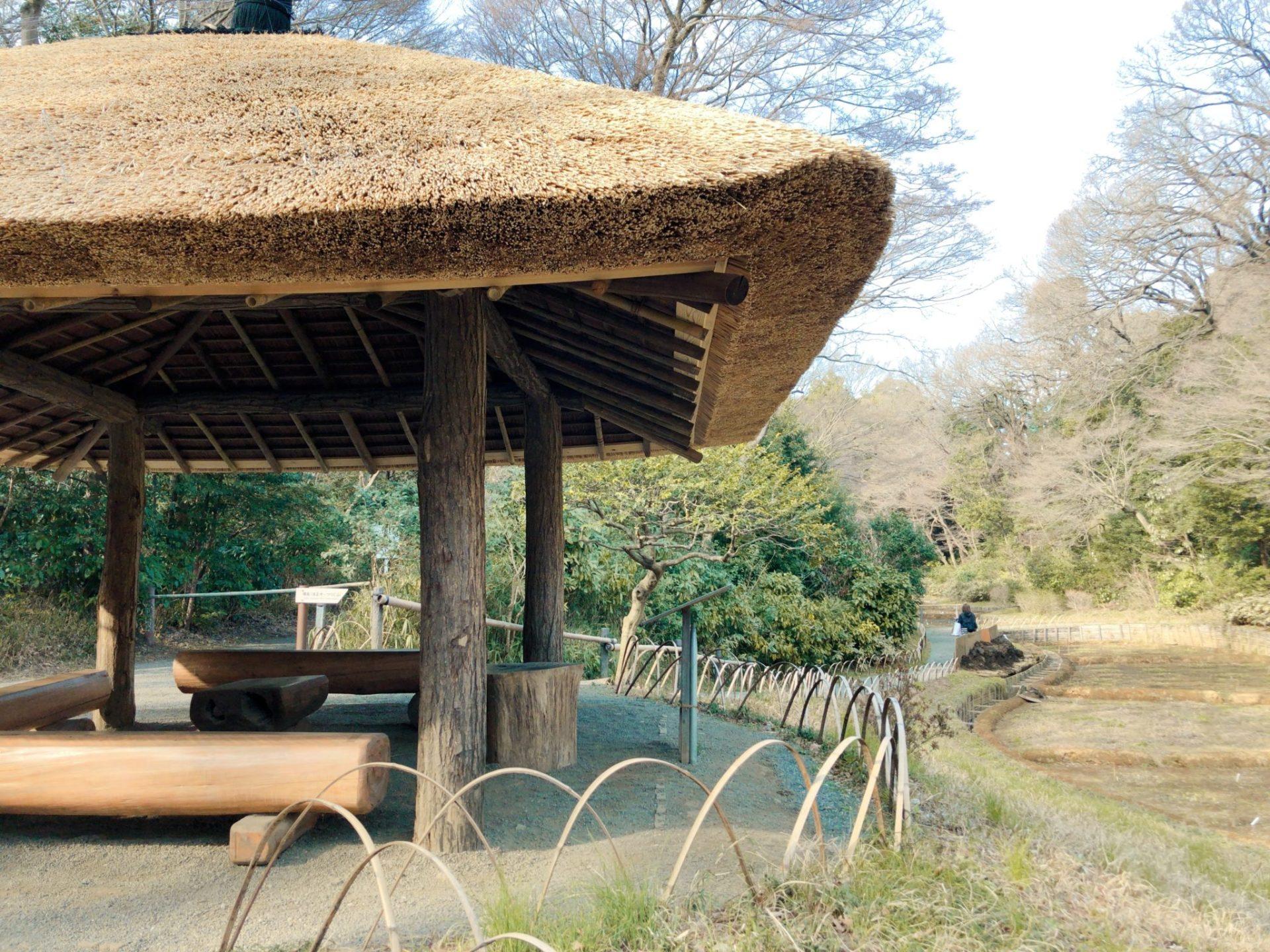 明治神宮御苑の茅葺き屋根