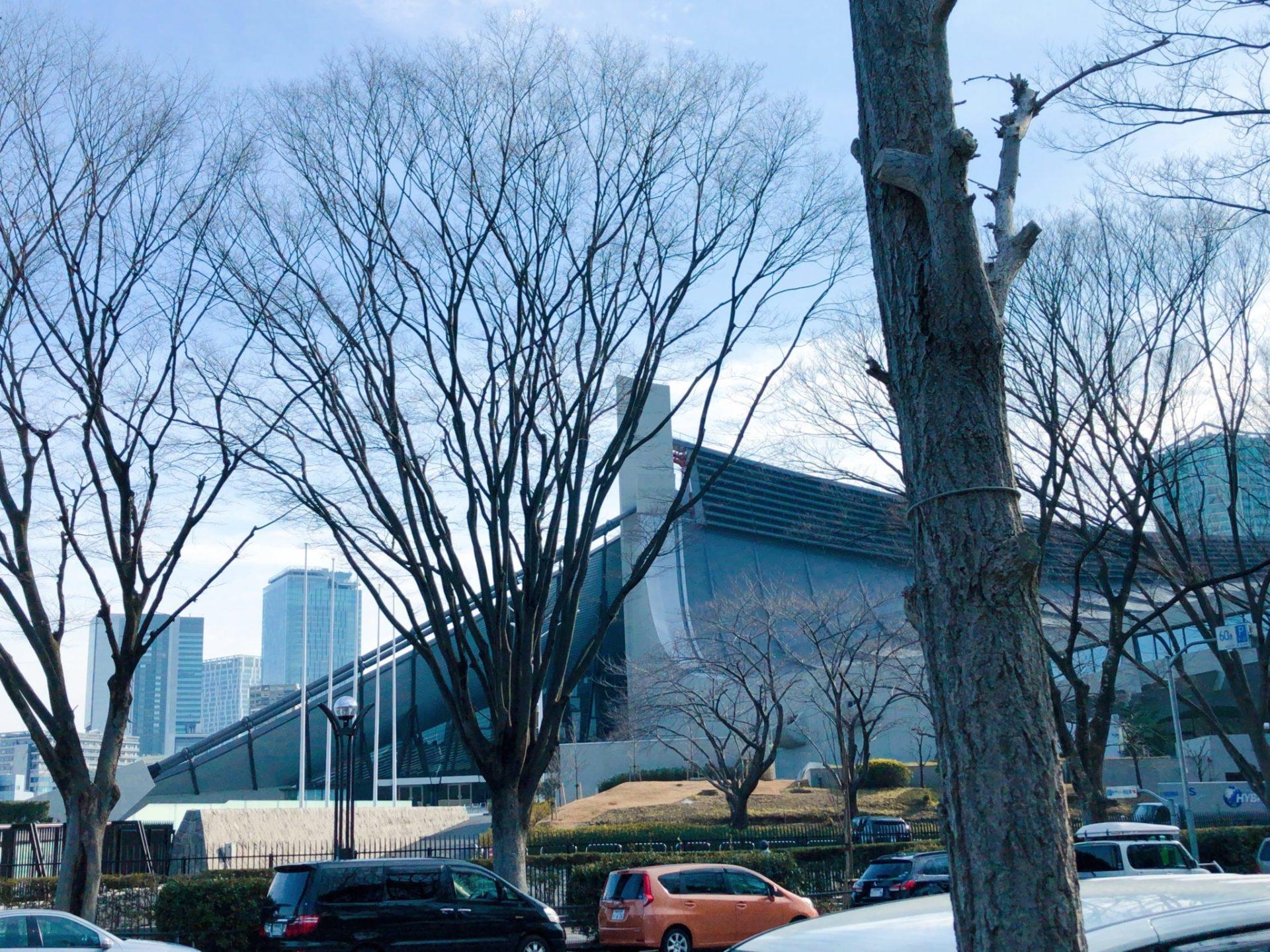 "代々木公園 原宿門から見える""国立代々木競技場第一体育館"""