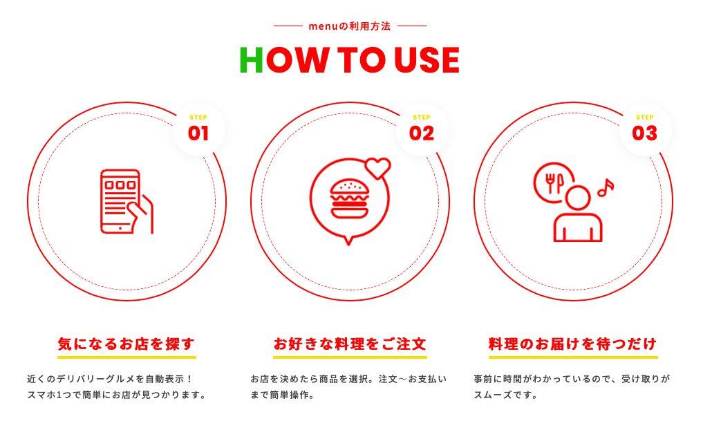 デリバリーアプリ「menu」の使い方