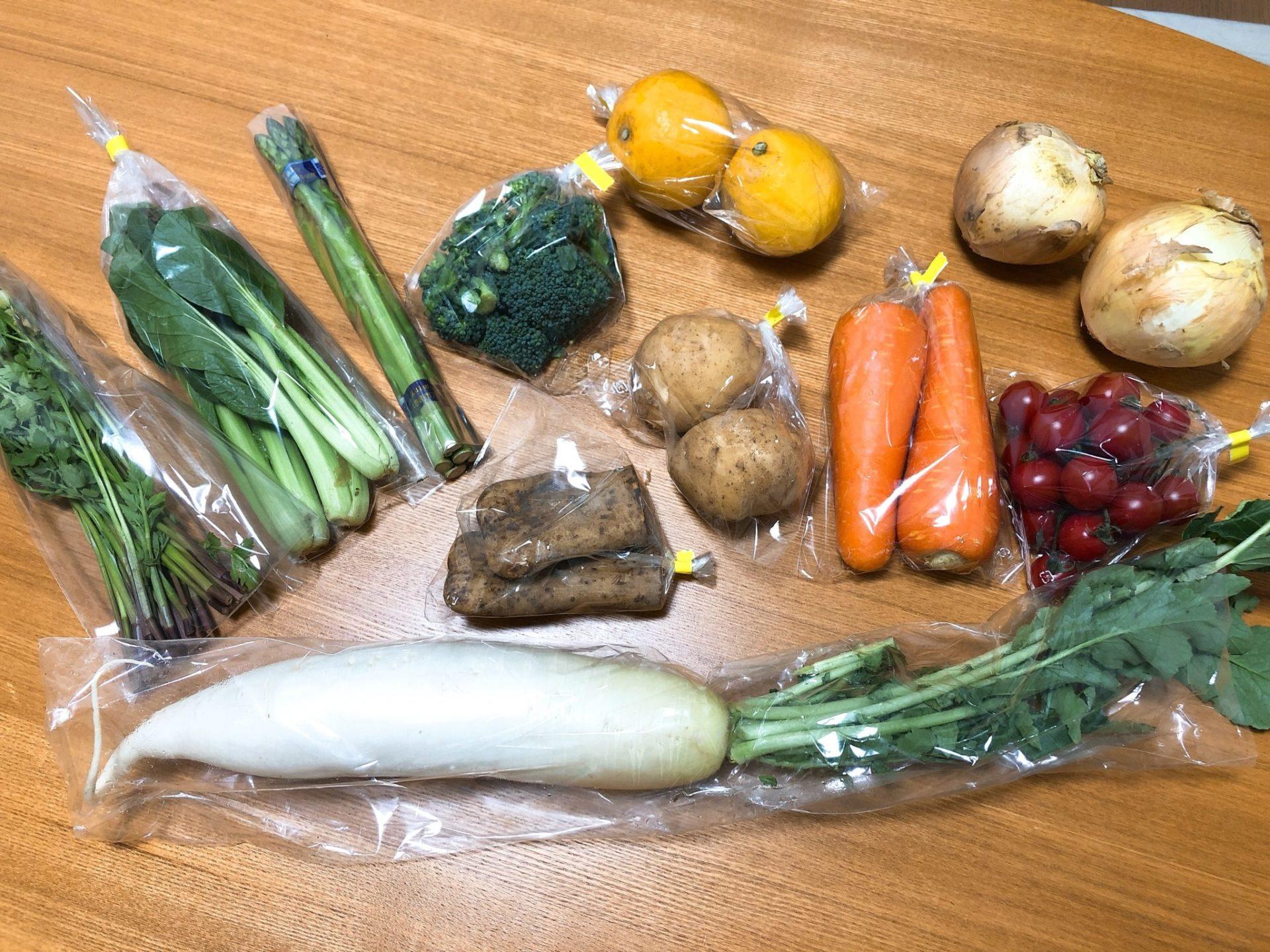 九百屋の宅配野菜に入っている野菜・果物