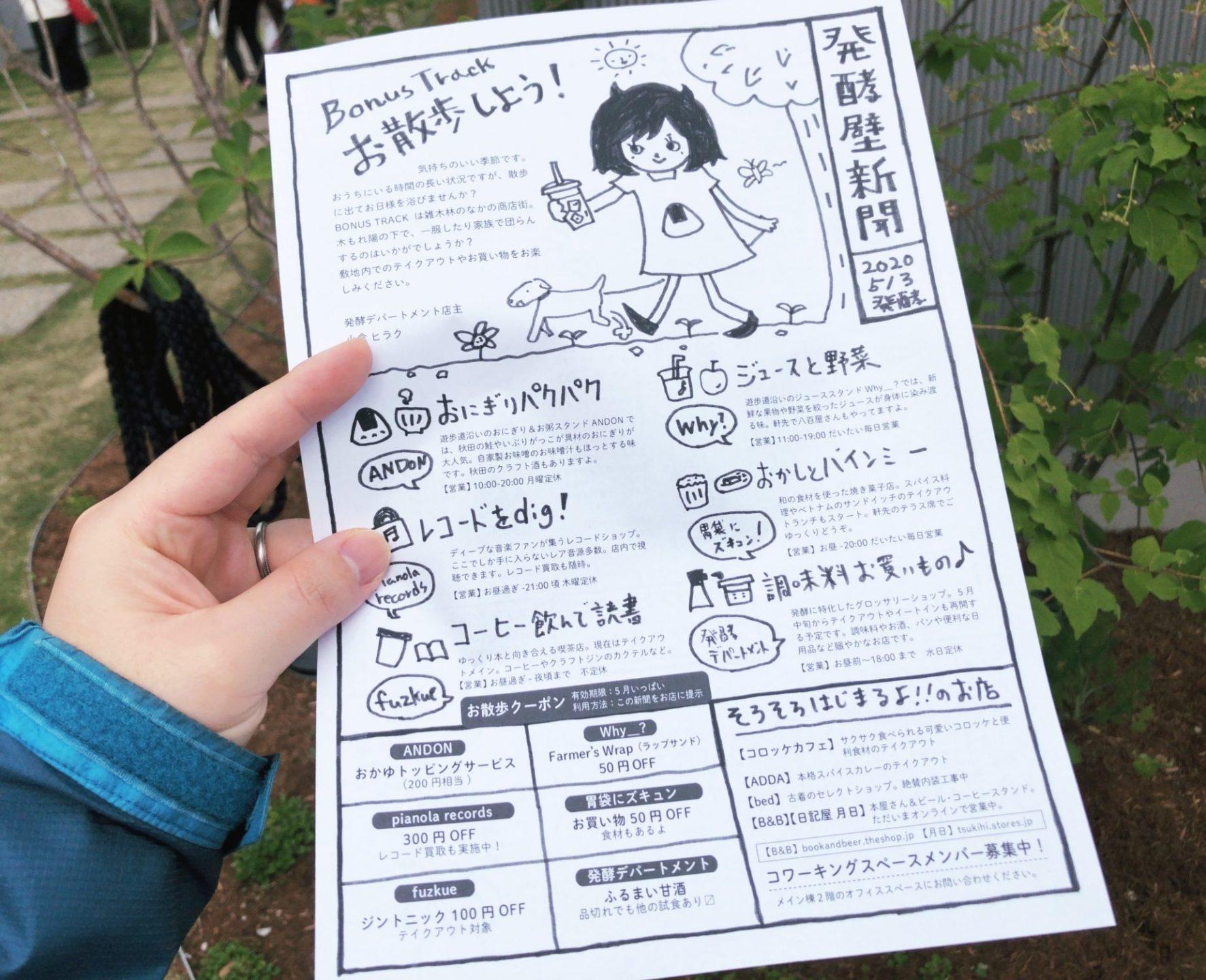 発酵デパートメント下北沢の発酵壁新聞