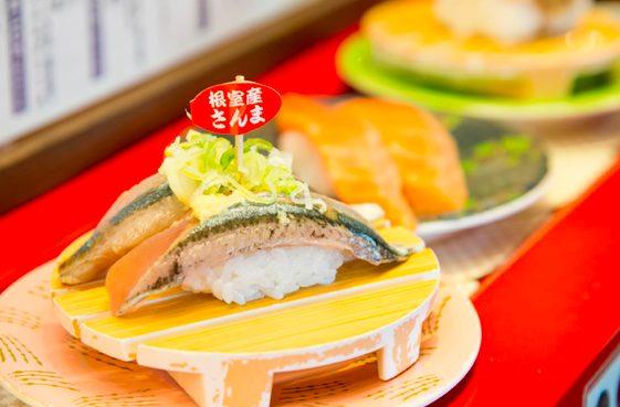 回転寿司根室花まるのお寿司 根室産さんま