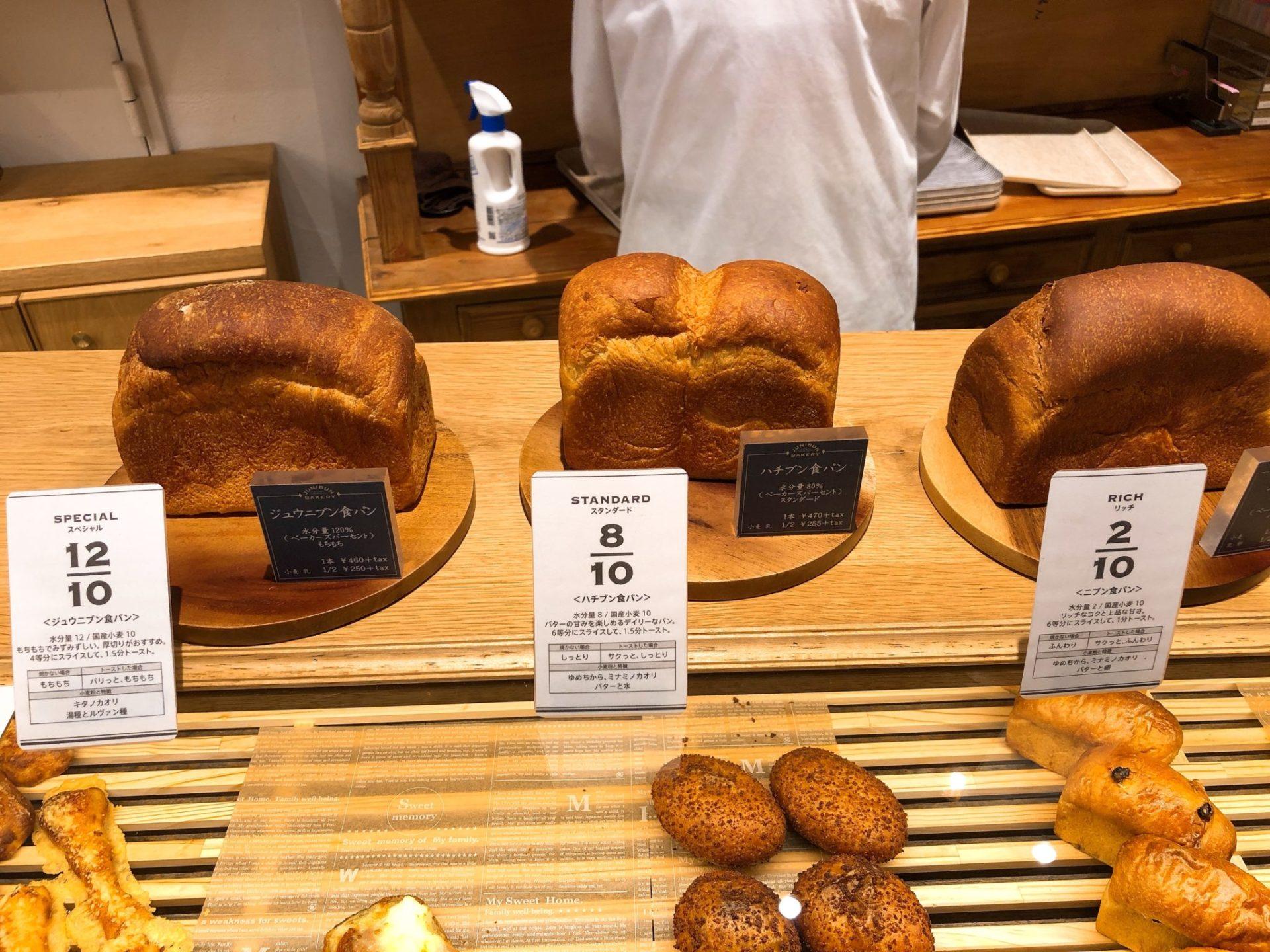 ジュウニブンベーカリー 三軒茶屋本店の食パン
