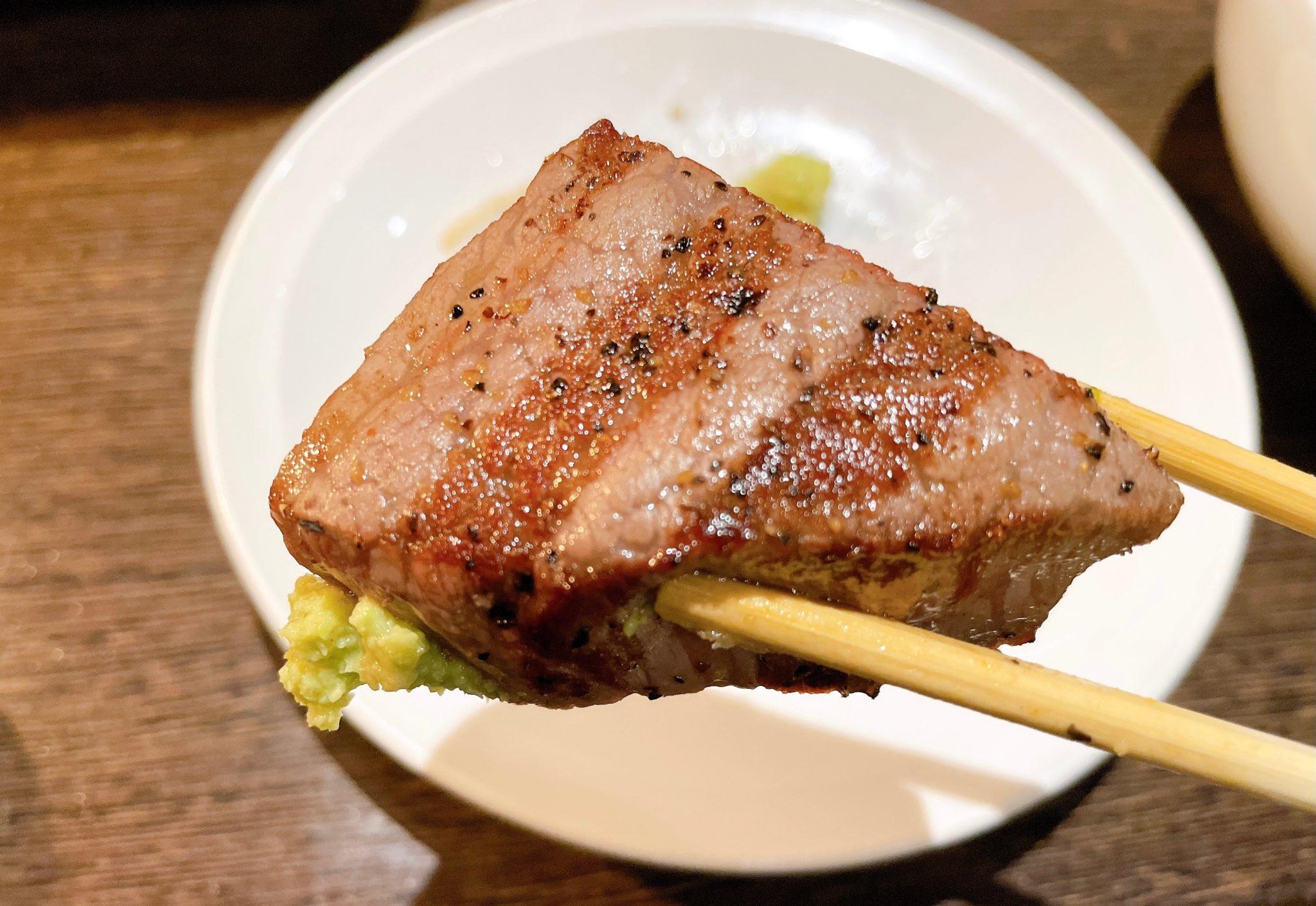 焼肉芝浦 駒沢本店のシャトーブリアンをわさび醤油で