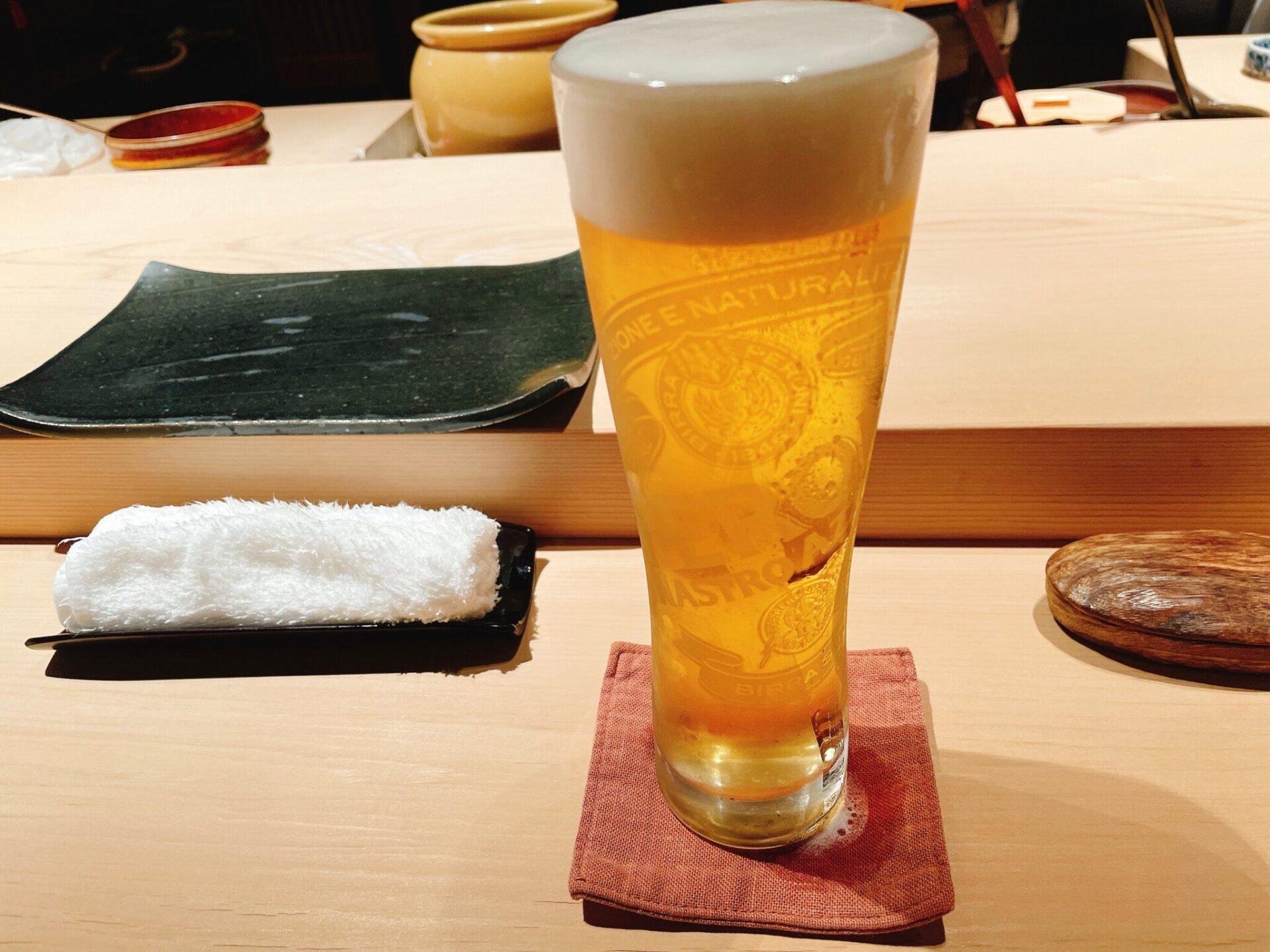 """""""鮨処 喜楽(きらく)""""経堂の生ビール"""