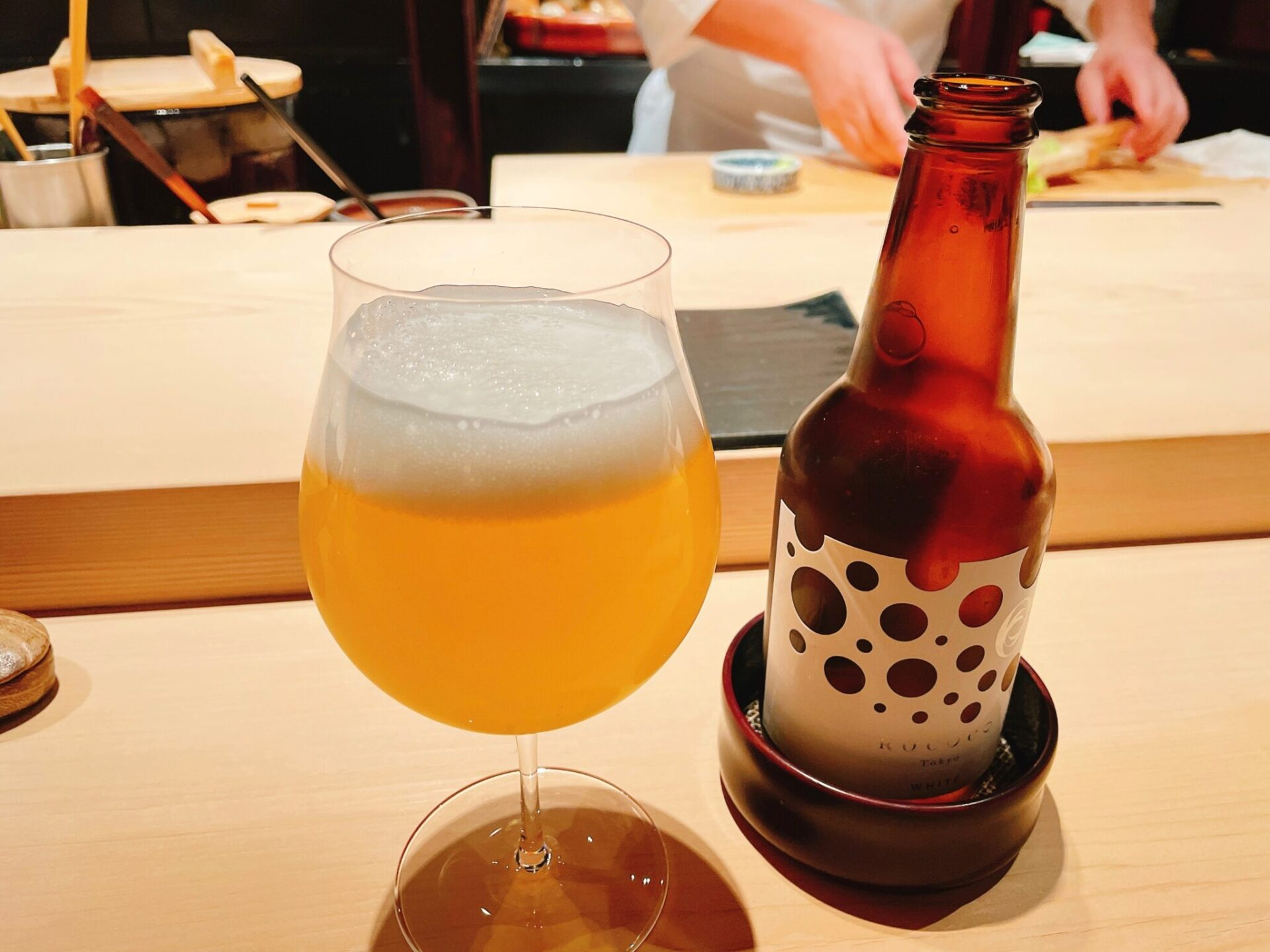 """""""鮨処 喜楽(きらく)""""経堂のビール"""