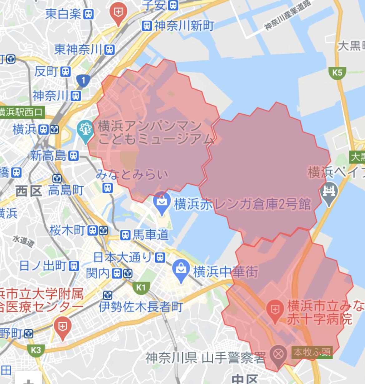 横浜 menu(デリバリーアプリ)の配達エリア