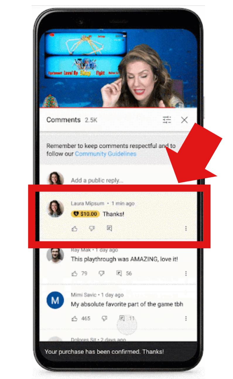 YouTube「Super Thanks」(スーパーサンクス)のコメントはマーカーで表示